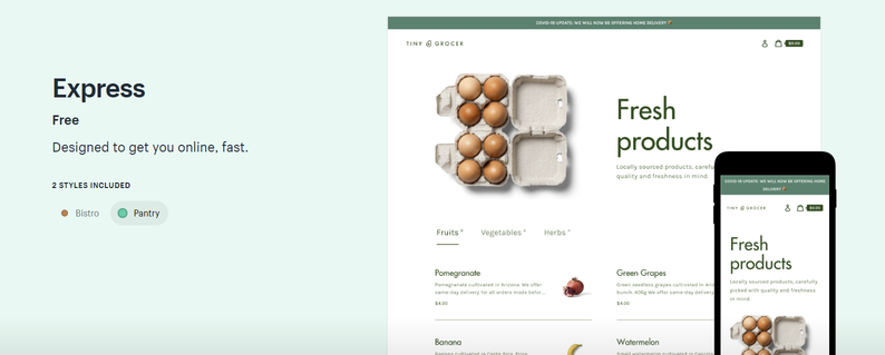 Shopify launches a new free theme for restaurants called Express