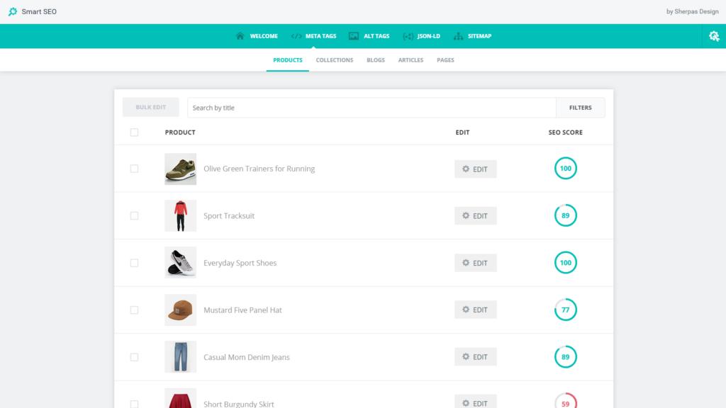 Shopify toote meta tekstid