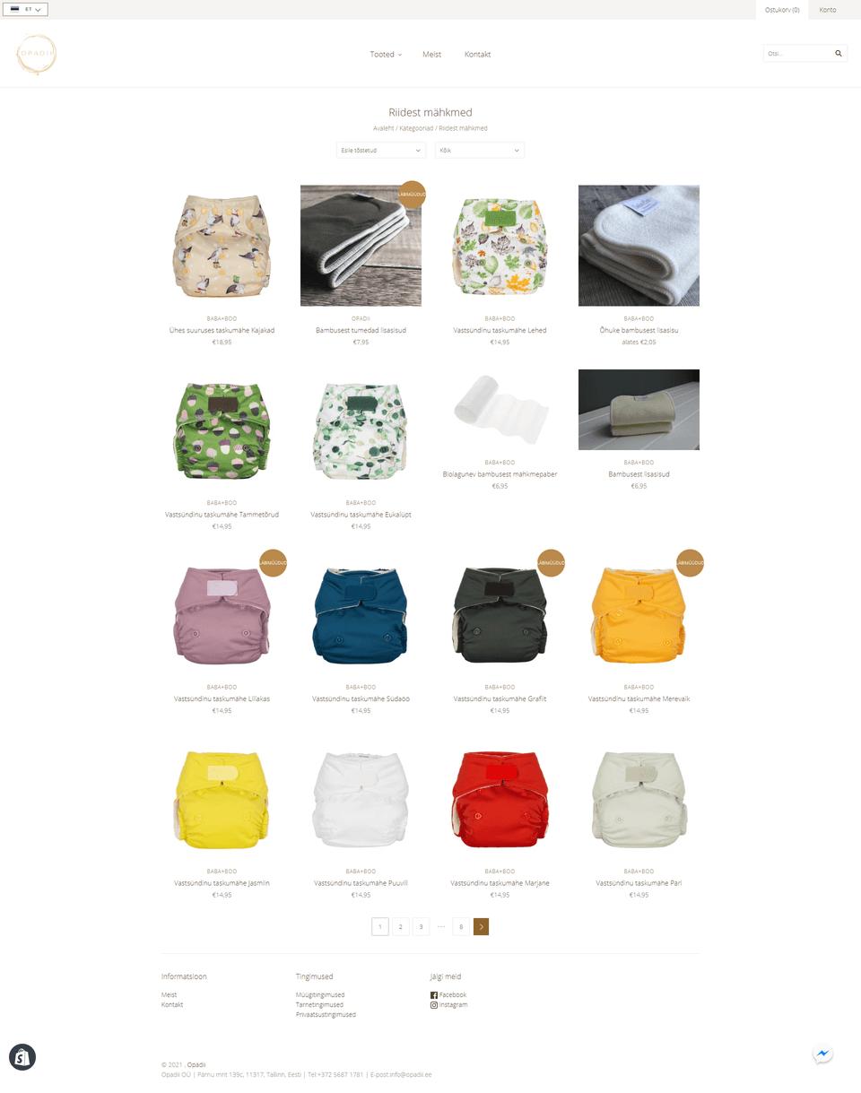opadii Shopify e-poe kollektsioon