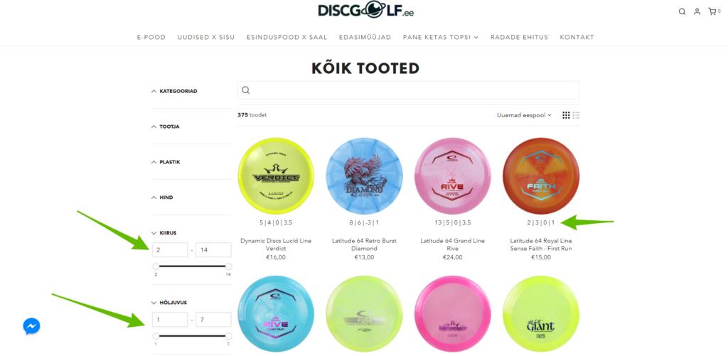 Shopify kategooriad filtrid metafield abiga